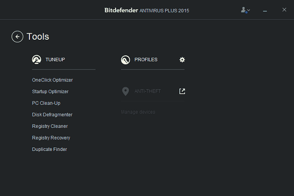Bitdefender Antivirus Plus 2015 tools