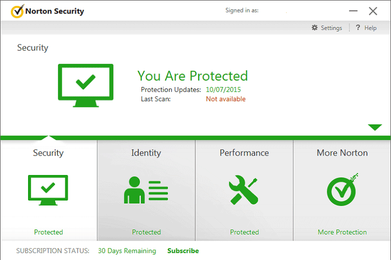 Norton Security 2015 interface