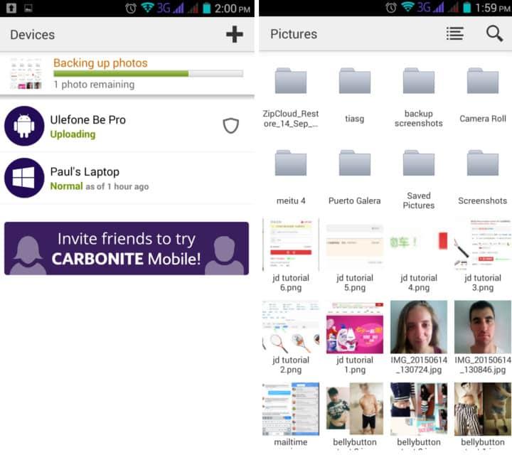 carbonite android app
