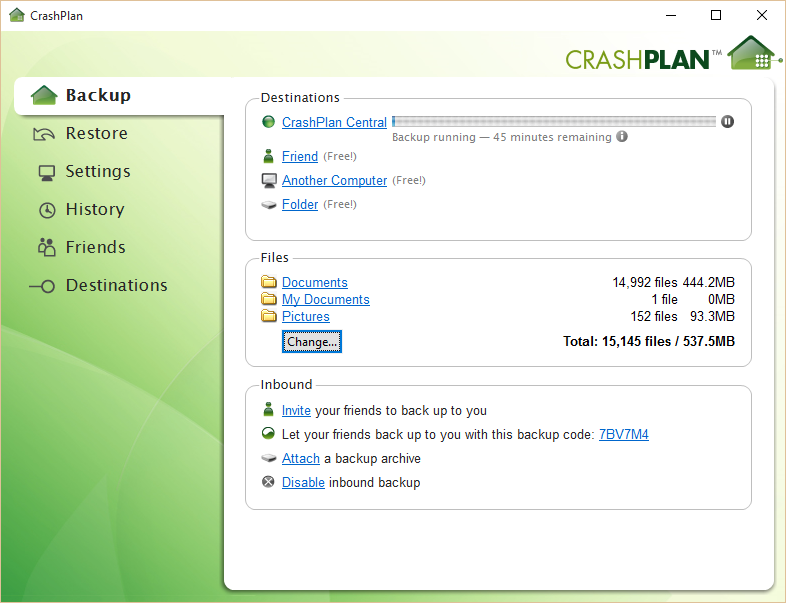 crashplan desktop app