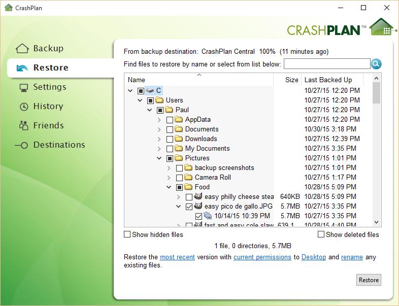 crashplan desktop restore