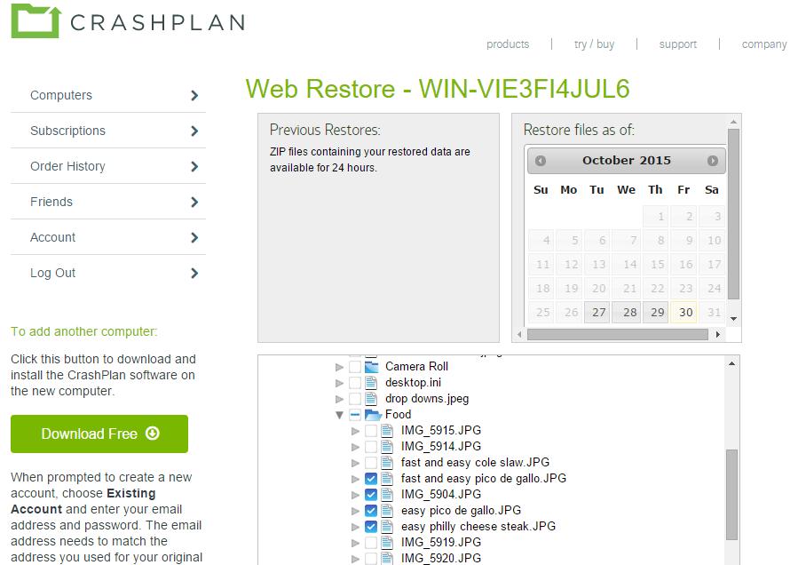 crashplan web restore
