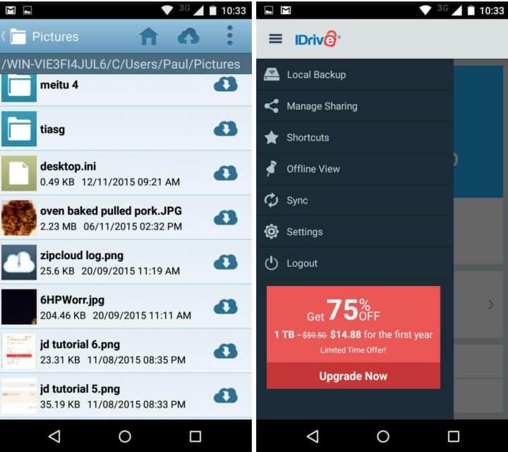 idrive mobile app