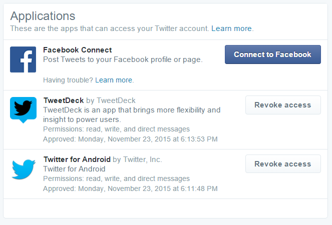 app permissions twitter