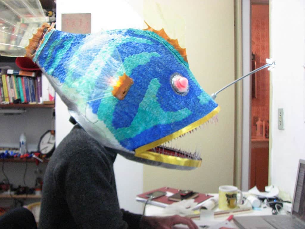 angler fish mask wearing it