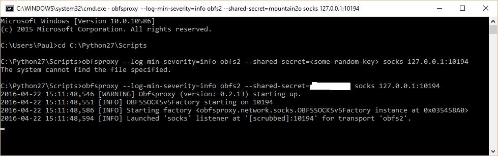 obfsproxy windows cmd