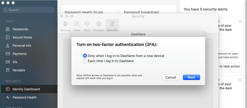 Enabling two-factor authentication with Dashlane