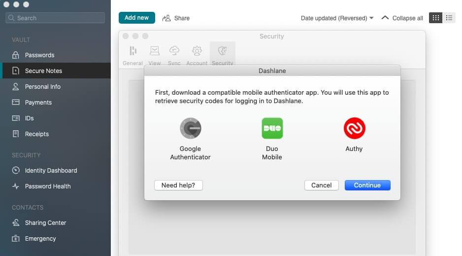 Mobile authenticator app prompts on Dashlane