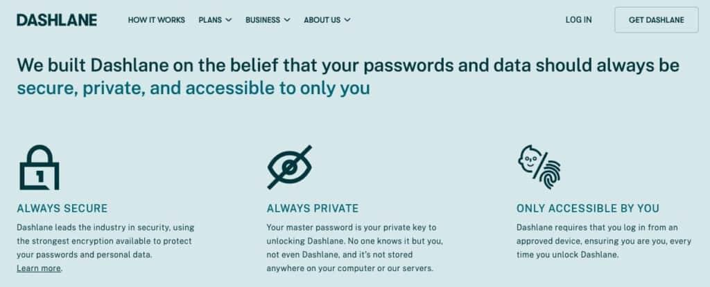 Dashlane security features.