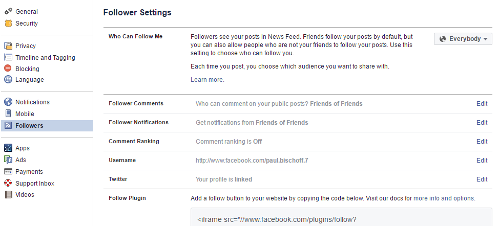facebook follower settings