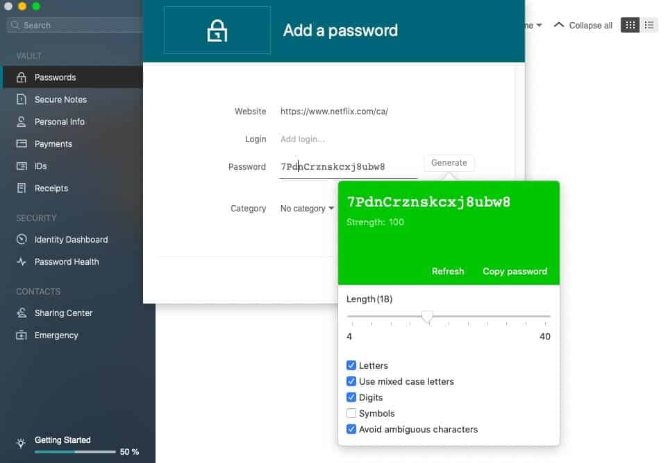 Generating a password with Dashlane