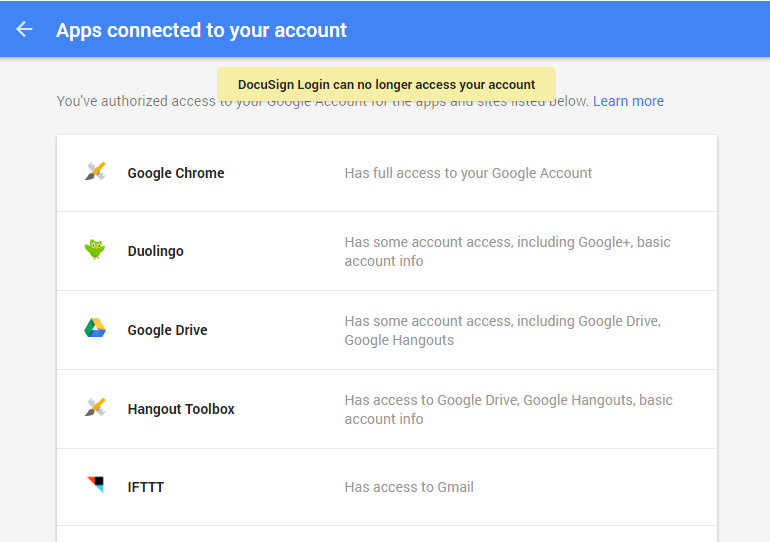 google apps connected to your account