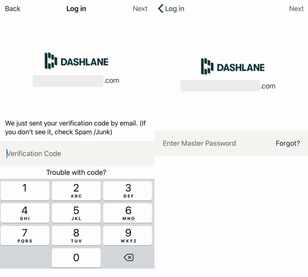 Dashlane mobile app login.