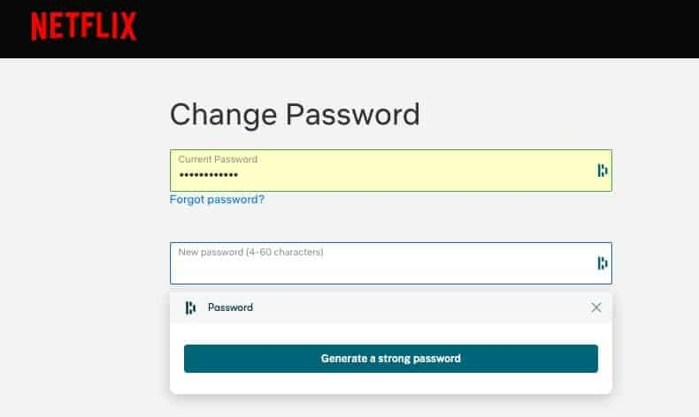 Changing a password with Dashlane