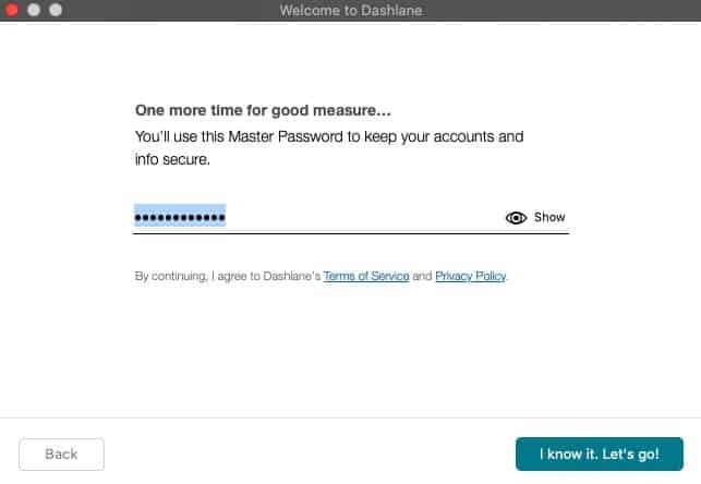 Reenter master password on Dashlane