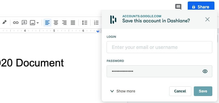 Adding password in browser with Dashlane