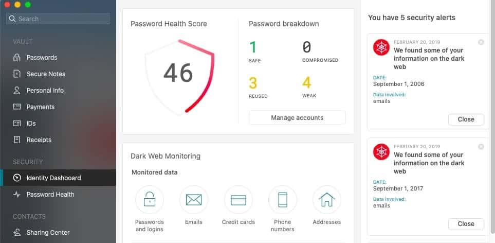 Dashlane password health score.