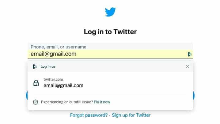 Autofilling a Twitter login with Dashlane.