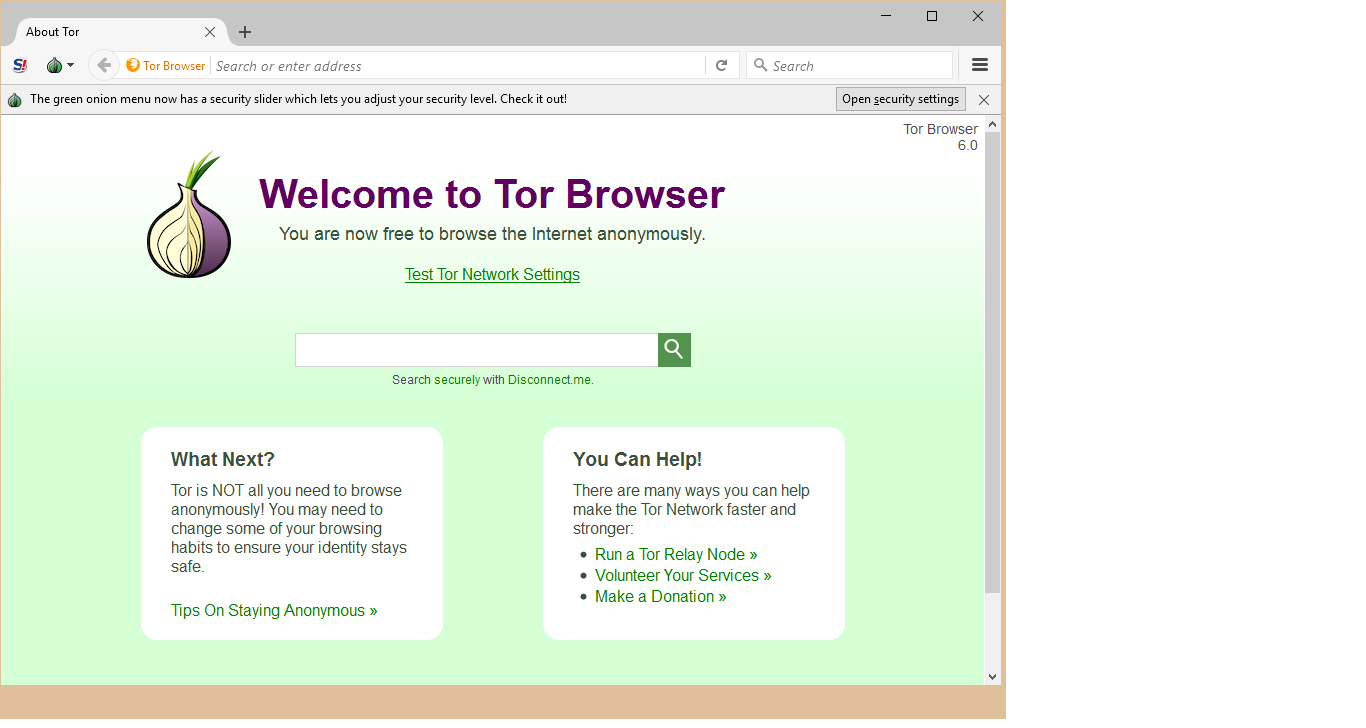 welcome to tor browser
