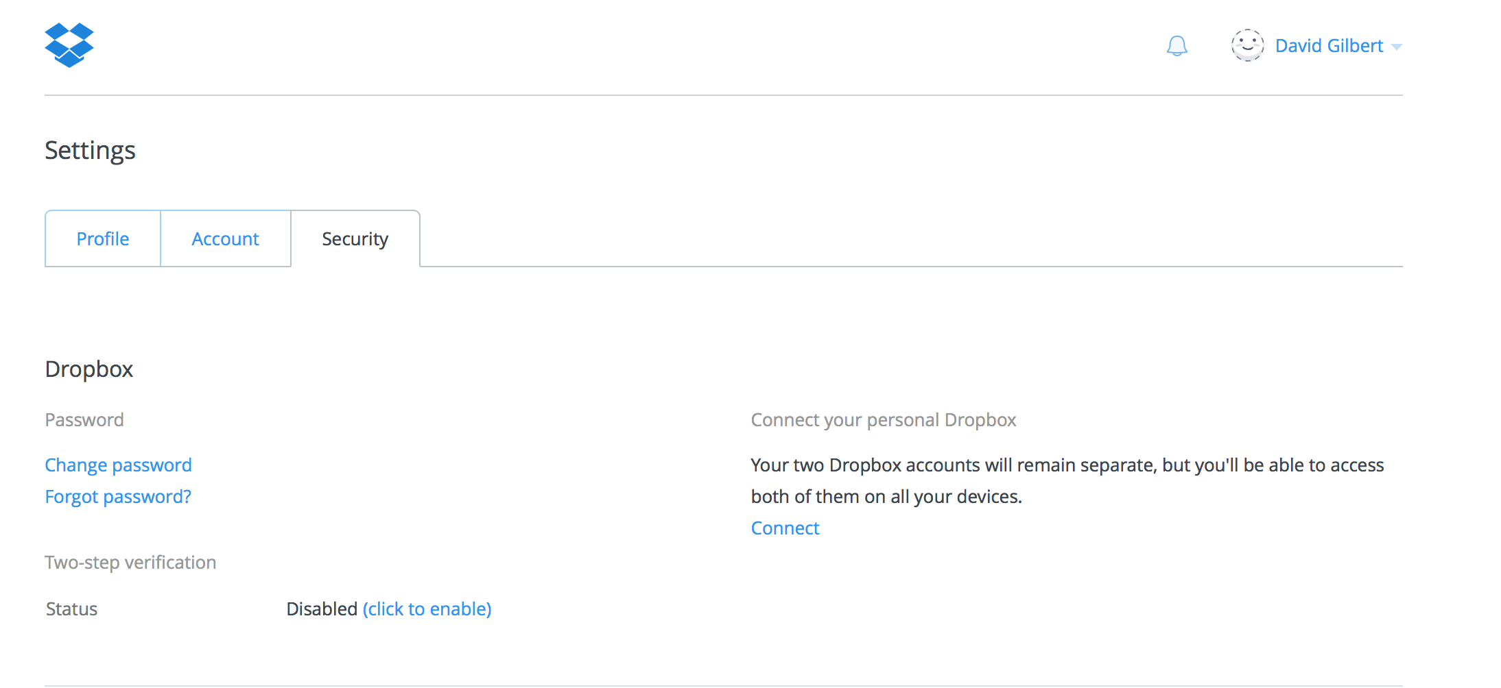 Dropbox two step authentication