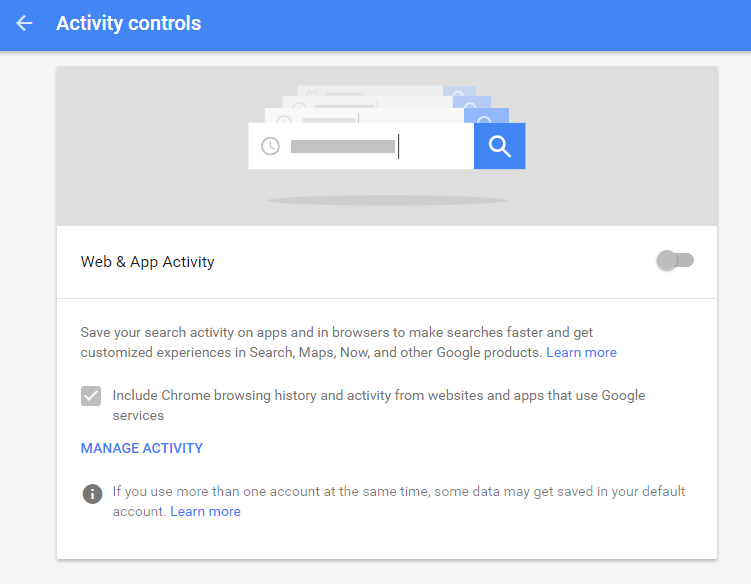 google activity controls