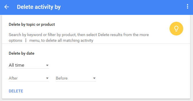 google delete activity by