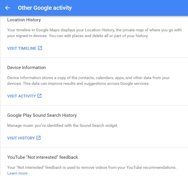 google other activity