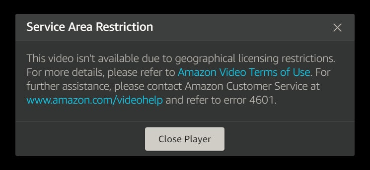 prime video service area restriction
