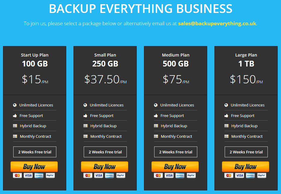 Backup Everything BE Business Plans