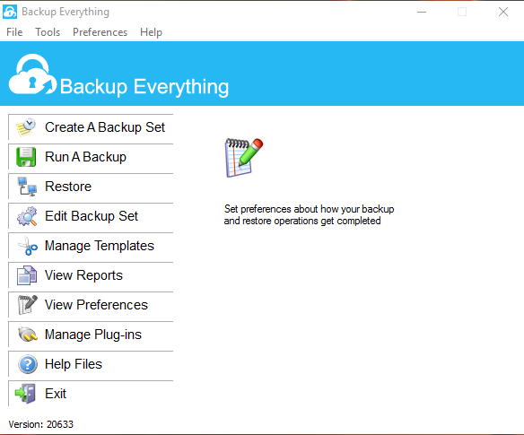 Backup Everything Interface