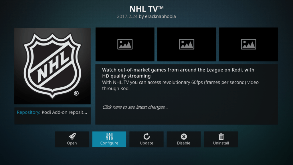 NHL tv on Kodi