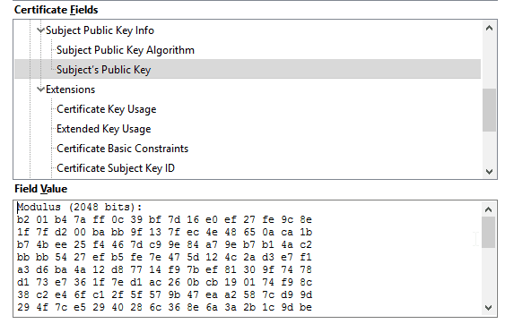 Encryption bit key size