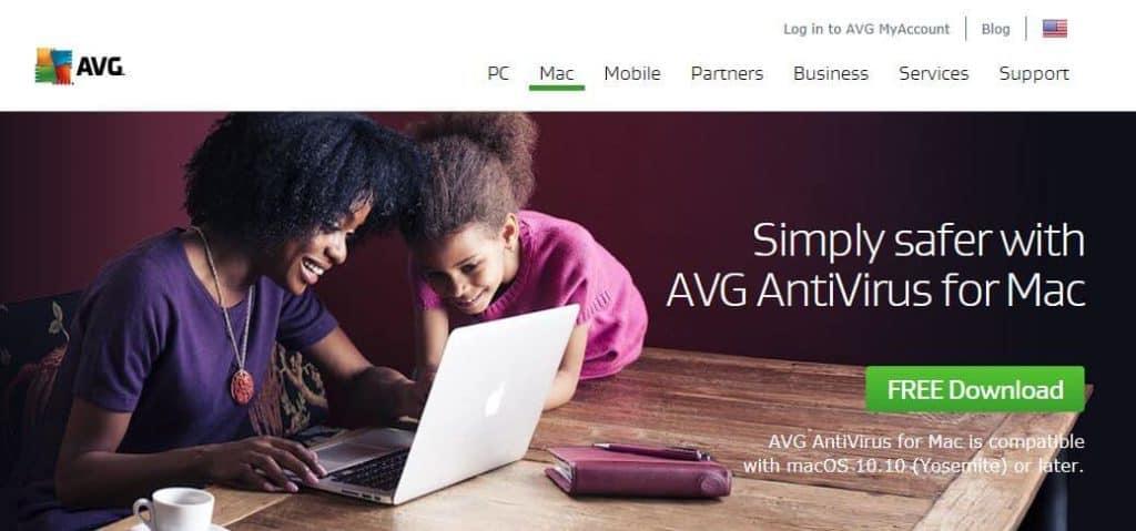 AVG Mac antivirus homepage.