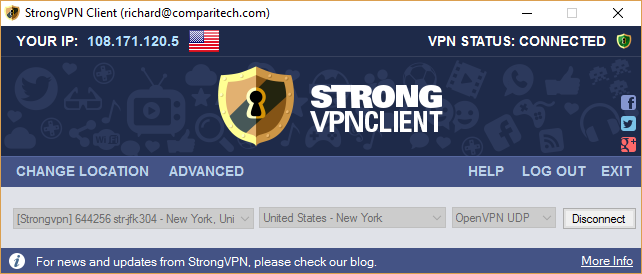 strongvpn connected