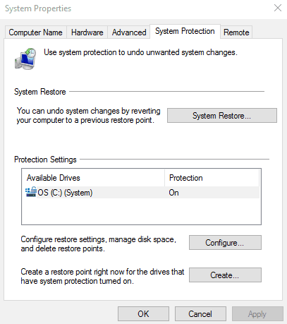 System advanced settings