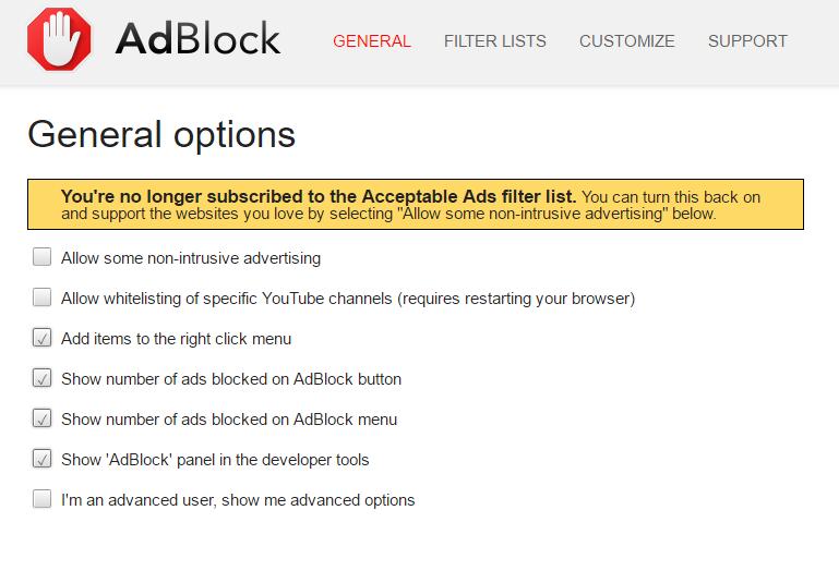 Adblock popup blockers