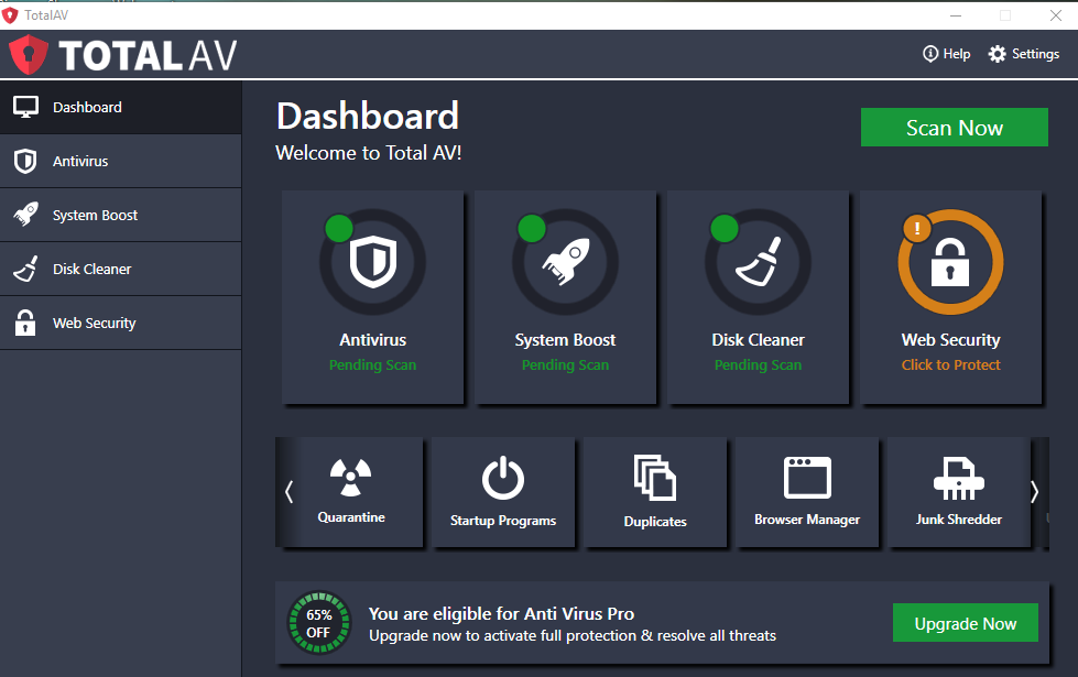 TotalAV interface