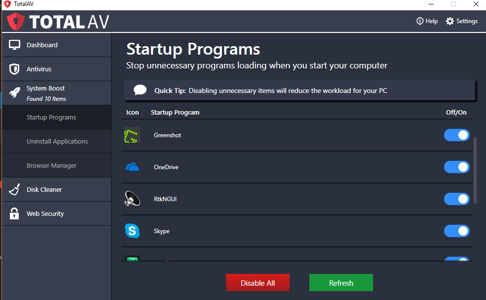TotalAV startups