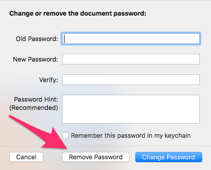 Pages 6.0.5 Change or Remove Password Dialogue