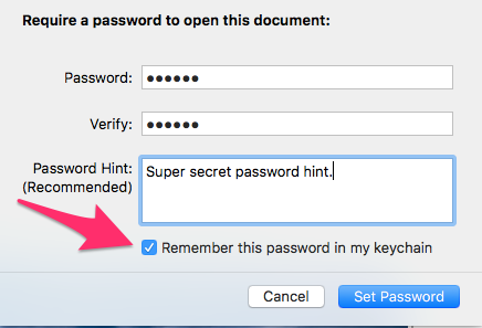 Pages 6.0.5 Set Password Dialogue