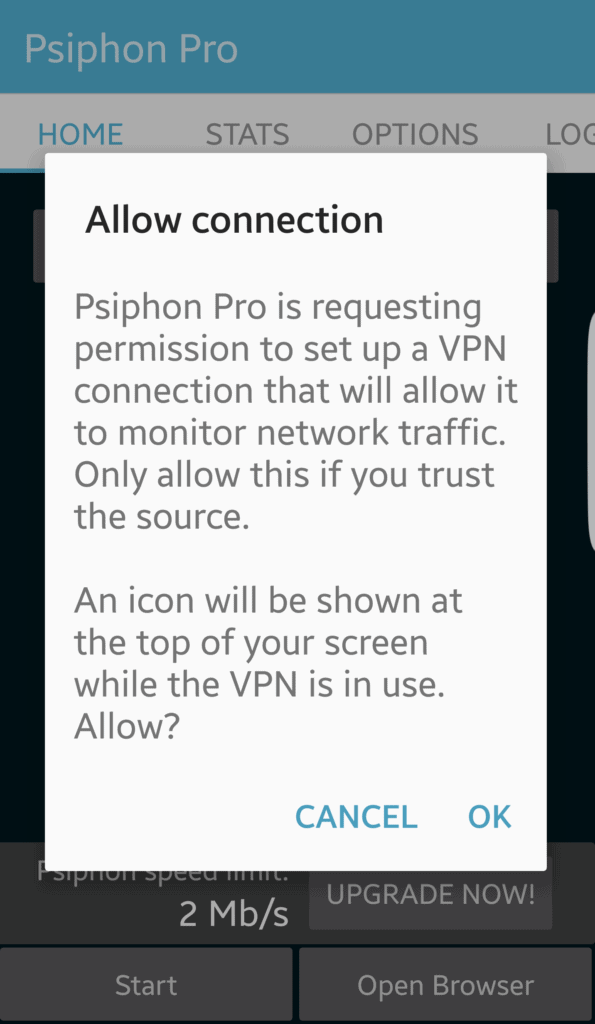 Psiphon for Android permission to run VPN