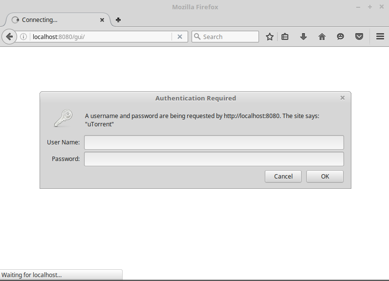 Log in to uTorrent on Linux
