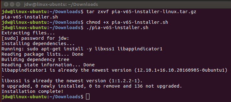 Private Internet Access VPN for Linux Install