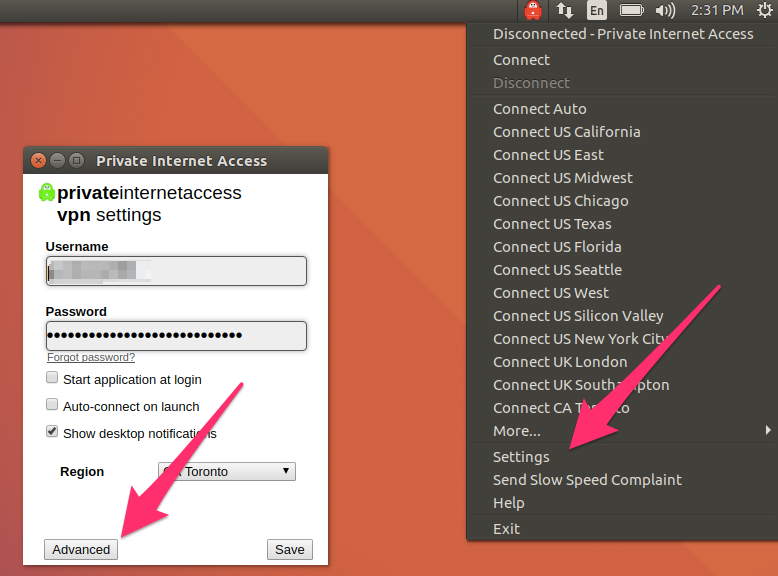 Start Private Internet Access VPN for Linux
