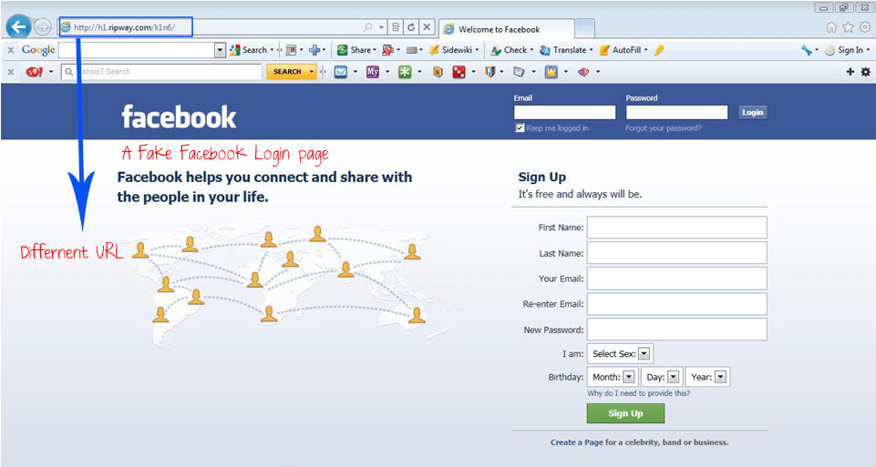fake facebook site phishing