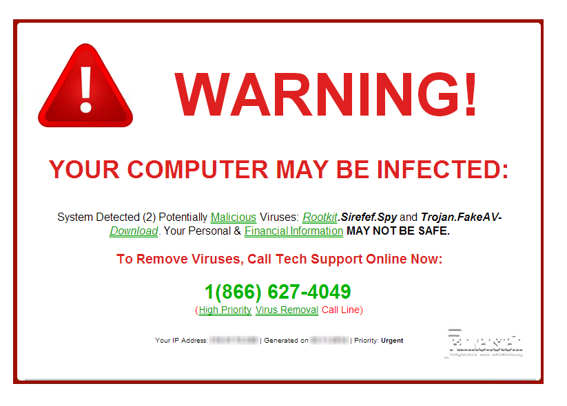 fraudulent websites fake virus warning