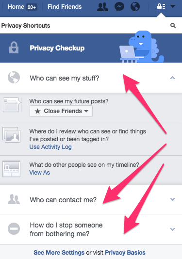Facebook lock icon selections