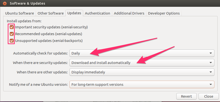 Gnome update preferences settings