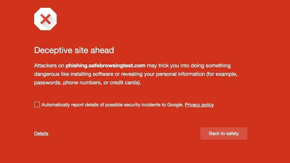 Google safe browsing warning