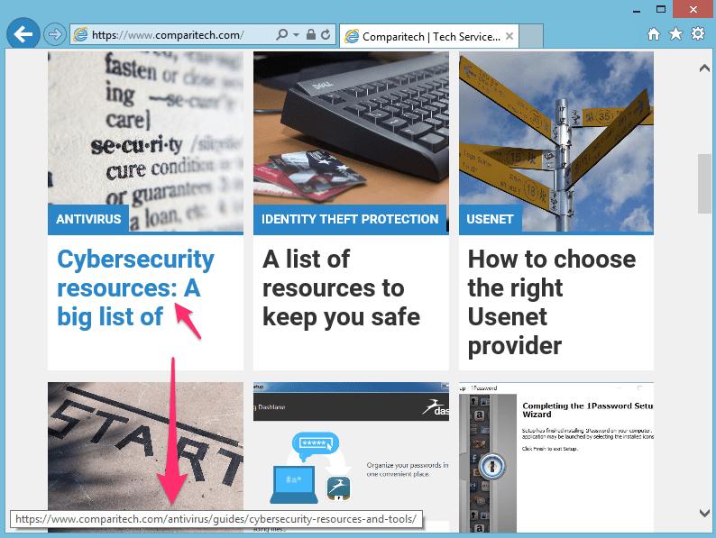 Internet Explorer URL hover